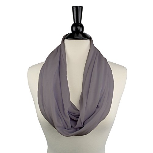Solid Color Infinity Scarf for Women with White Zipper Storage Pocket - Pop Fashion (Grey)