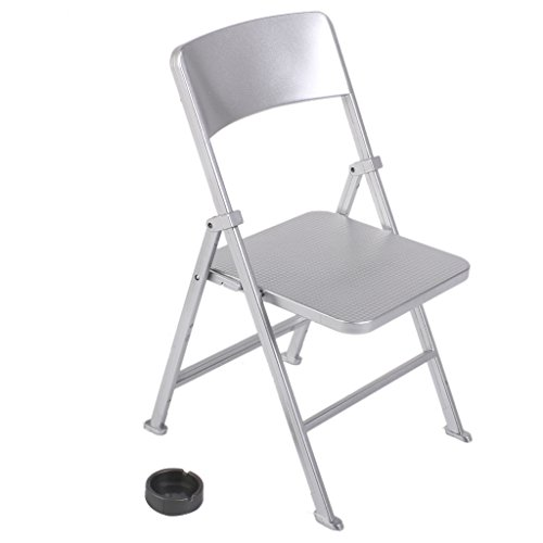 MagiDeal 1/6 Scale Mini Folding Chair with Ashtray for Dolls Action Figures Silver