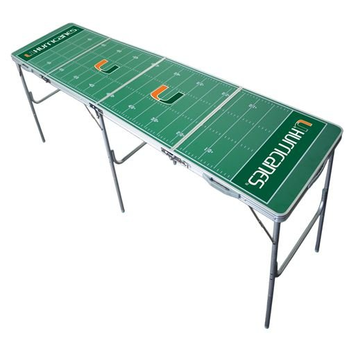 Miami Hurricanes Tailgate Table, NCAA Football Tailgating, 2x8, 8ft, Aluminum, Lightweight, Portable