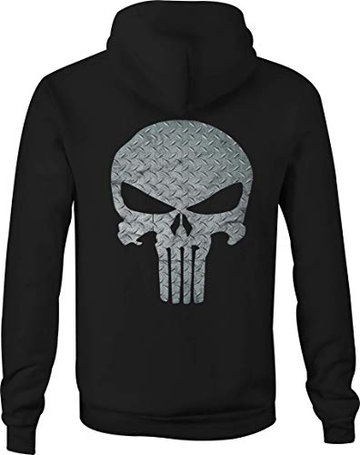Motorcycle Zip Up Hoodie Diamond Plate Military Punisher Skull - 2XL Black