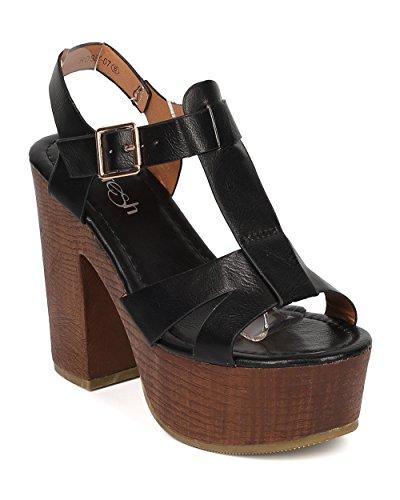 Women Leatherette Block Heel Sandal - Peep Toe T-Strap Platform - HA47 by Alrisco - Black Leatherette (Size: (Girls Black Hazel Shoes)