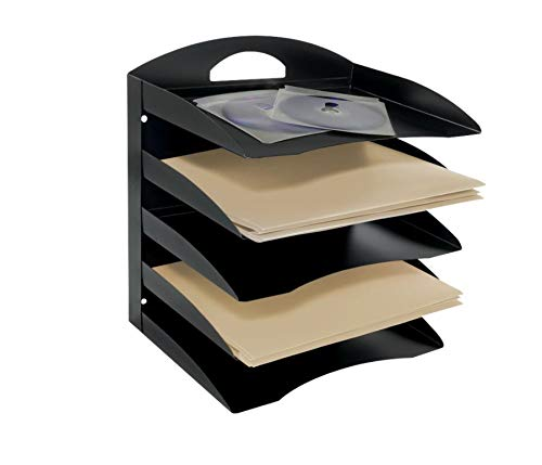 Office Depot 58% Recycled 5-Tier Horizontal Desk Organizer, Letter Size, 13 1/4in H x 12 1/8in W x 8 3/4in D, Black, OD5H04