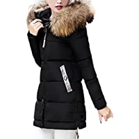 Forthery Womens Puffer Jacket with Plush Lined Fur Trim Hood Down Coats (Tag XXXL= US XL, Black)