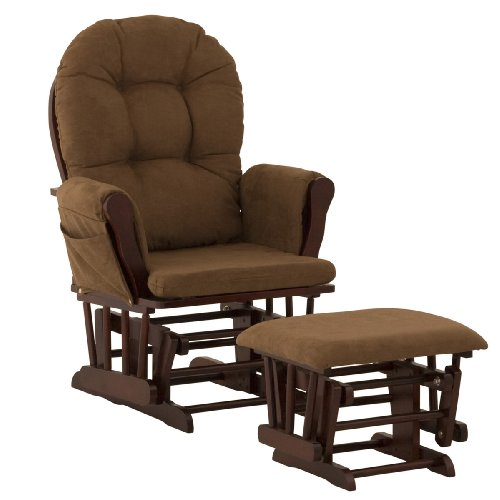 Stork Craft Hoop Glider and Ottoman, Cherry/Chocolate (Gliding Replacement Cushions Chair Rocking)