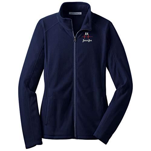 Customized RN Nurse Full Zip Microfleece Jacket with Pockets (2X, True Navy)