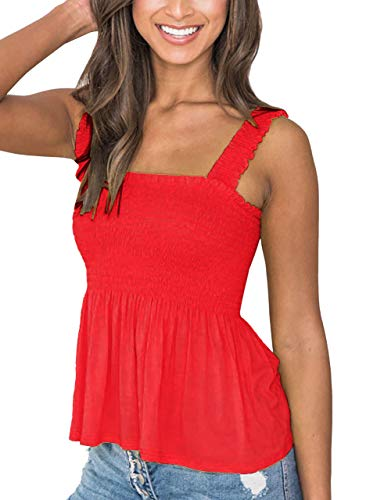 MISSACTIVER Women's Solid Cute Smocked Tank Tops Sexy Cami Sleeveless Tops Blouse Red