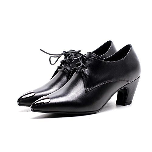 Jqdyl Tacones Zapatos de mujer solteros Acentuado grueso tacón alto Zapatos de mujer Black
