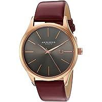 Akribos XXIV Men's AK618RGR Red Leather Strap Stainless Steel Quartz Watch