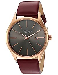 Akribos XXIV Men's Quartz Stainless Steel and Leather Dress Watch, Red