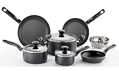 T-fal C996SE Initiatives Nonstick Ceramic Coating PTFE PFOA and Cadmium Free Scratch Resistant Dishwasher Safe Oven Safe Cookware Set, 14-Piece, Black