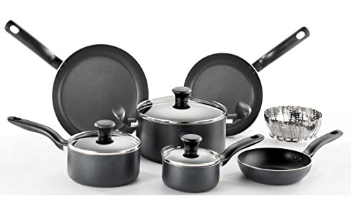 T-fal A821SA Initiatives Nonstick Inside and Out Dishwasher Safe Oven Safe Cookware Set, 10-Piece, Charcoal