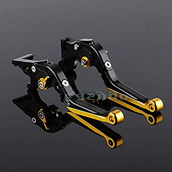 CNC Motorcycle Accessories CNC Aluminum Adjustable Folding Extendable Brake Clutch Levers For Yamaha YZF R3 YZF-R3 2014-2018 (Gold)