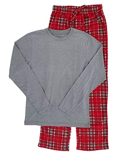 (Joe Boxer Mens 2-Piece Long Sleeve Shirt & Plaid Fleece Pants Sleepwear Pajama Set Large)