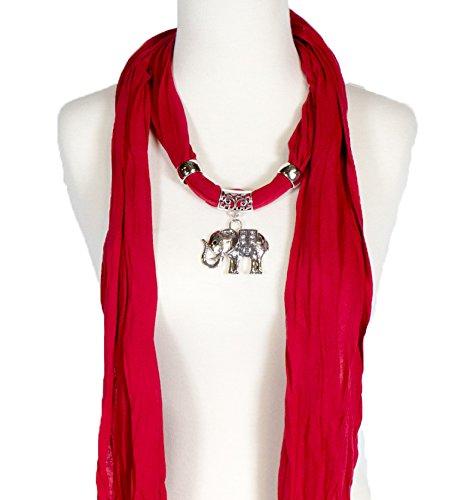Alirina Red Scarf with Elephant, Heart, owl, Cross, Round Diamond Charm, Pendant, Jewelry Necklace Scarf, Elephant Scarf ()