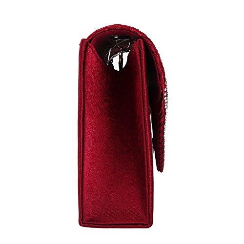 Diamant Satin Pochette Sac à Main argentée Rouge Soirée Femme Bandouliere Sac Mariage à Chaine Main Bal q1qn8aTwO