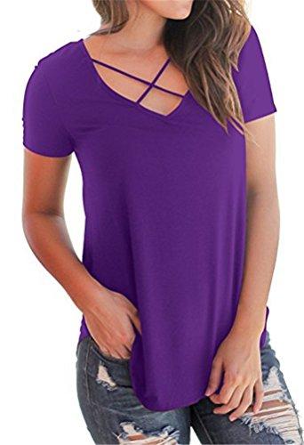 Poings Estate Camicia Viola collo Casuale Manica Corta Donna Maglietta T shirt Tops V Blusa rSnqxrUw
