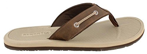 Top Tie Sider Leather Sperry (Sperry Men's, Pensacola Thong Sandal Brown 8 M)