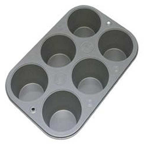 6 Cup Non Stick Steel Muffin Pan Bakeware Cupcake Baking Pan Cookie Tray Material Steel Color Silver Brand New (Copper Muffin Pan compare prices)