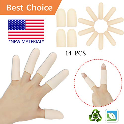 - Gel Finger Cots, Finger Protector Support(14 PCS) *New Material* Finger Sleeves Great for Trigger Finger, Hand Eczema, Finger Cracking, Finger Arthritis. (Finger cots)