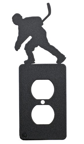 Outlet Hockey Skate - Hockey Black Metal Power Outlet Plate Cover