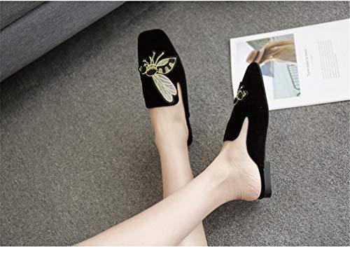 pour YUCH Brodées Black Femmes Sandales wT0Tg7Aq