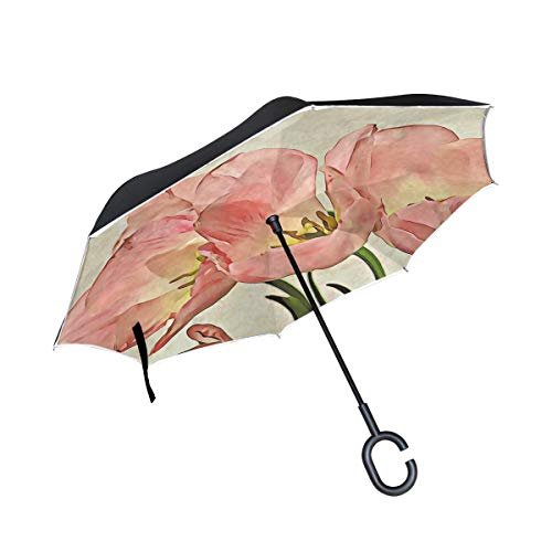 Mdsdfkc Double Layer Inverted Tulip Flower Bouquet De Fleurs Floral Petal Umbrellas Reverse Folding Umbrella Windproof Uv Protection Big Straight Umbrella for Car Rain Outdoor with C-Shaped Handle