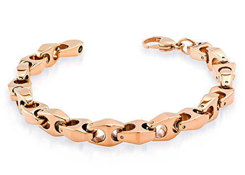 8'' Mens Tungsten Bracelet Hi-Polished 18K Rose Gold Plated Tungsten Mariner Anchor Link Bracelet 8mm x 8 in by JA Tungsten Bracelets