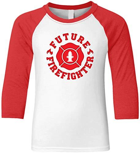 Amdesco Future Firefighter Youth Raglan Shirt, Red/White X-Small