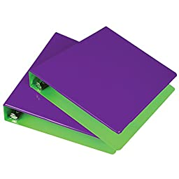 Samsill 1.5-Inch 2-Tone View Binder, Purple/Lime, Pack of 2 (U58949)