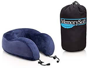 Luxury Travel Neck Pillow by MemorySoft - Extremely Soft & Comfy Contoured Memory Foam Neck Pillow Includes a Handy Travel Bag