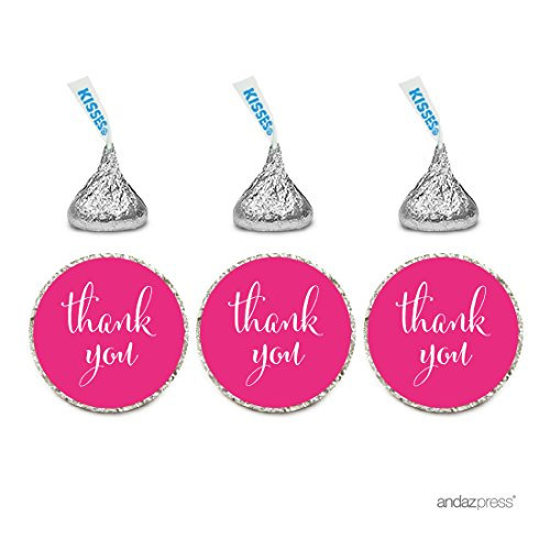 Andaz Press Chocolate Drop Labels Stickers, Thank You, Fuchsia, 216-Pack, For Wedding Birthday Party Baby Bridal Shower Hershey's Kisses Party Favors Decor Envelope Seals