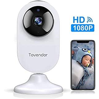 Tovendor Mini Smart Home Camera, 1080P WiFi Security Camera Wide Angle Nanny Baby Pet Monitor with Two Way Audio, Cloud Storage, Night Vision, Motion Detection