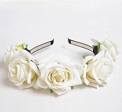 KMALL Rosa coroncina fiori capelli con bracciale fiore per sposa damigella  donore bambina donna per matrimonio ... c51b49f68834