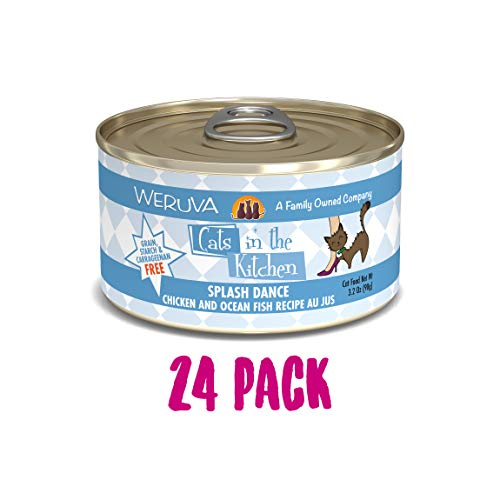 Weruva Cats In The Kitchen, Splash Dance With Chicken & Ocean Fish Au Jus Cat Food, 3.2Oz Can (Pack Of 24)