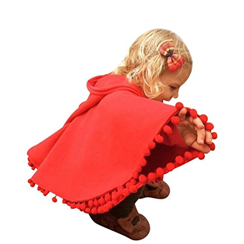 Cap Sleeve Raglan Type (Toddler's Cloth,Laimeng Toddler Baby Girl Fashion Autumn Winter Clothes Tassel With Cap Cloak Warm Coat (100,)