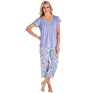 Carol Wright Gifts Pajama Set for Women with Capris – Short Sleeve Sleepwear Pjs Sets Available in Small to 4XL
