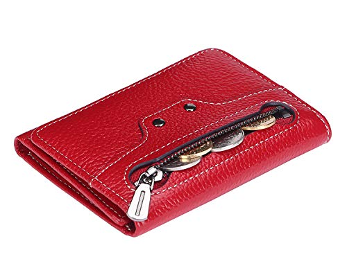 AINIMOER Women's RFID Blocking Small Compact Tri-Fold Leather Zip Pocket Wallet Clutch Organizer Ladies Travel Purse Mini Purse with ID Window(Lichee Wine)
