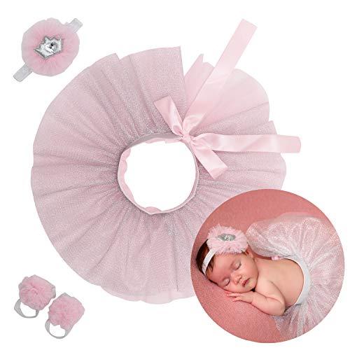 Crochet Baby Headband Pink - Newborn Girl Tutu Set Skirt with Headband Photography Prop Pink