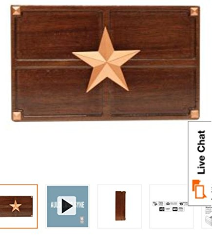 Hampton Bay Wireless or Wired Door Bell, Medium Oak Wood with Texas Star Medallion ()