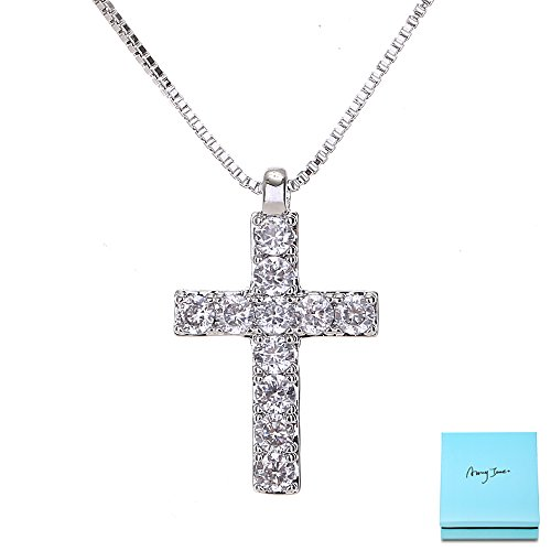 Tiffany Charm Necklace - Silver Cross Necklace for Women - Clear Crystal CZ Diamond Small Cross Pendant Necklace Charm for Girls Teens Religious Jewelry