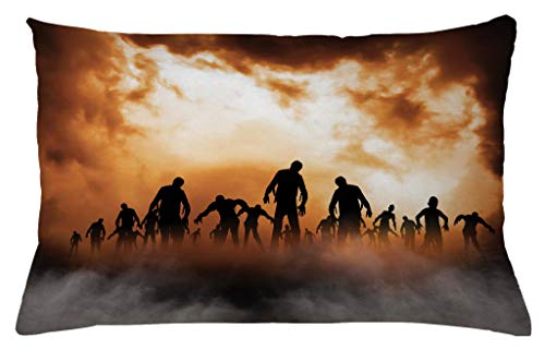 Ambesonne Halloween Throw Pillow Cushion Cover, Zombies Dead Men Walking Body in The Doom Mist at Night Sky Haunted Theme Print, Decorative Accent Pillow Case, 26 W X 16 L Inches, Orange Black -