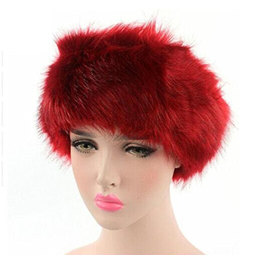 SUKEQ Women Winter Warm Faux Fur Fox Hat Headband Wrap Cap Pile Cap (Red) (Fur Fox Red Headband)