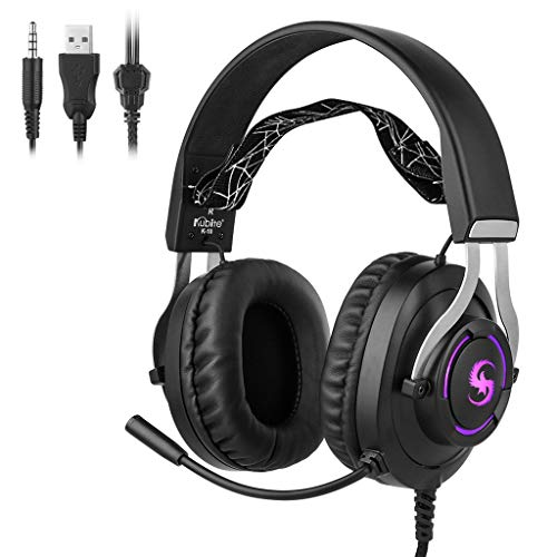 CZYCO Teens Head-Mounted Foldable DJ Headphones 3.5mm Wired Game Illuminate Stereo Earphones With Microphone