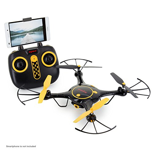 Tenergy Syma X5UW Wifi FPV Drone 720P HD Camera RC Drone 360° Roll Headless Mode Auto Hovering App/Remote Control Drone Come with 2 Batteries (Exclusive Black Yellow Color)