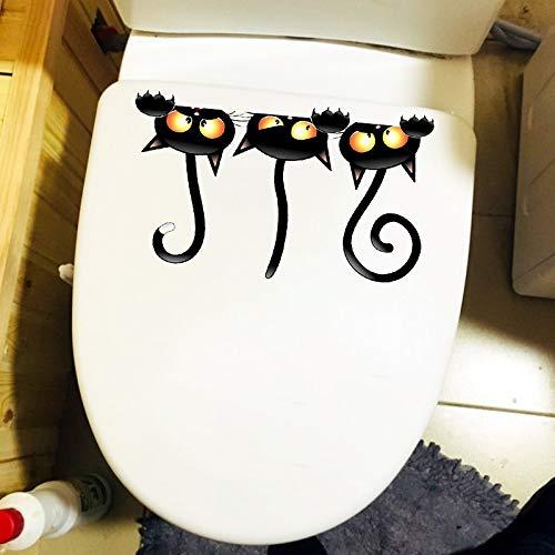 WYLYSD Adesivo per Coperchio WC 23.9 X 14.2CM Strega Gatto Divertente Adesivo Toilette Camera da Letto per Bambini Decalcomania da Muro Decorazione Domestica T1-0051