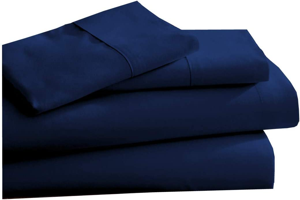 CC&DD HOME FASHION Luxury Lightweight Super Soft Easy Care Double Brushed Microfiber 3/4-piece Sheet Set with Deep Pockets-Full, Solid Navy Blue