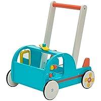 Labebe Chariot Enfant, 2-en-1 Utilisation comme Trotteur Enfant,Avion Bleu Trotteur Bois pour 1 an et Plus, Coffre à Jouet Mobile Trotteur Bébé Fille/Formes Chariot Bois/Trotteur Pousseur Bébé Garçon