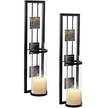 Amazon Com Danya B Metal Pillar Candle Sconces With Glass