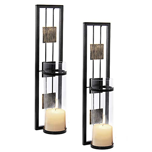 Shelving Solution Wall Sconce Candle Holder Metal Wall Decorations for Living Room, Bathroom, Dining Room, Set of 2 (Holder Rectangular Candle)