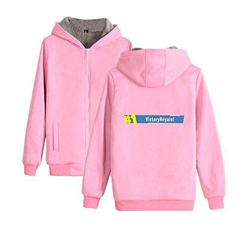 Cappuccio E Ailient Pile Donne Maniche Unisex Invernale Hoodie Fortnite Felpe Calda Fashion Uomo Pink2 Per Sweatshirt Lunghe Giacche Con Pullover Cerniera wUqUIzr